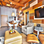 Heretic Condos Park City unit 2, 2 bedroom, 2 bath, living room and dining room